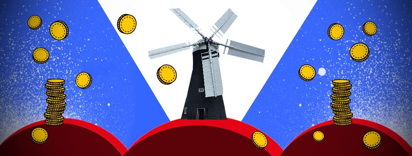Windmill with stacked coins on the right and left.