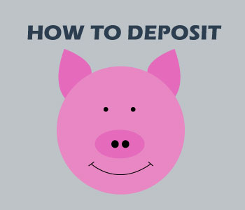 piggy bank and depositing