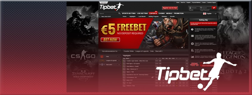 TipBet eSports betting interface, with their logo on top.