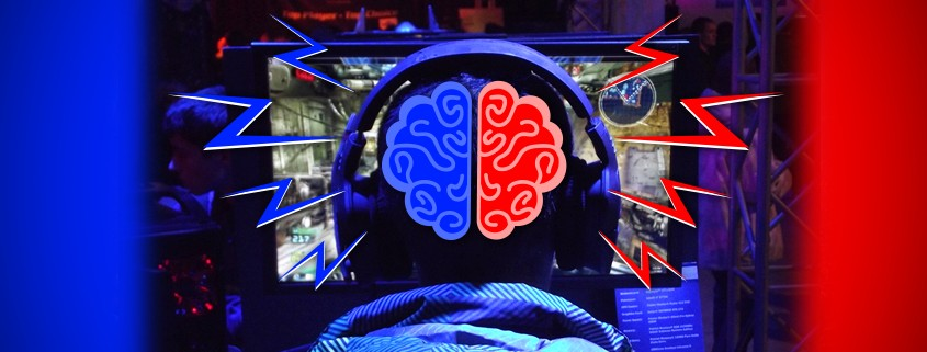 Concentrated gamer with blue and red lightning bolts coming out of his brain.