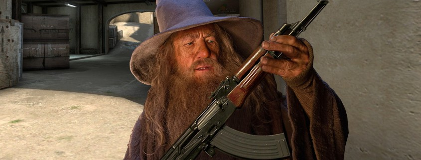 Funny montage of Gandalf inspecting an AK-47 he found of Dust2 CSGO map