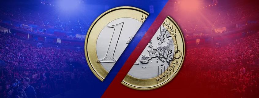 One Euro coin, split in half.