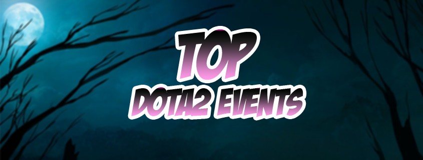 """""""Top Dota 2 Events"""" text in front of a background showing the moon and some spooky branches."""