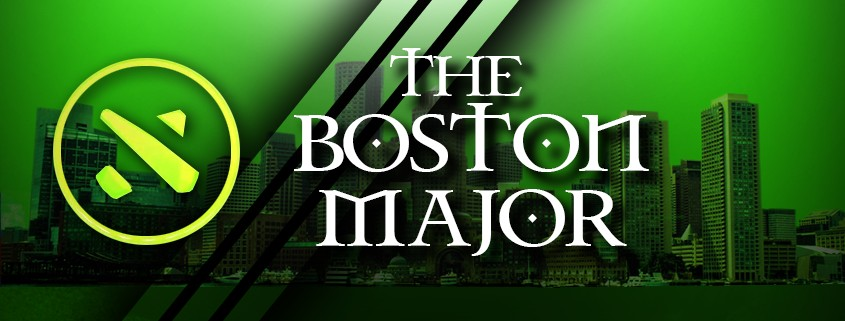 Skyline of Boston downtown, painted in Green, with a Dota 2 logo on top.