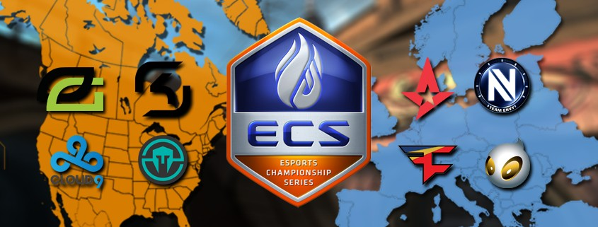 Maps of North America and Europe, representing the geographic location of 8 teams at ECS Season 2 Finals