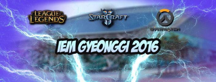 Goyang arena in South Korea, riddled with lightning bolt and logos of League of Legends, Stacraft 2 and Overwatch.